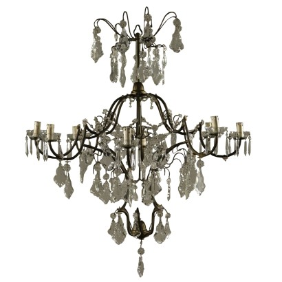 Chandelier Brass Glass Italy First Half of 1900s
