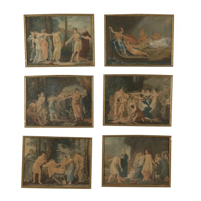 Mythological Scenes Series of Lithographs 19th Century