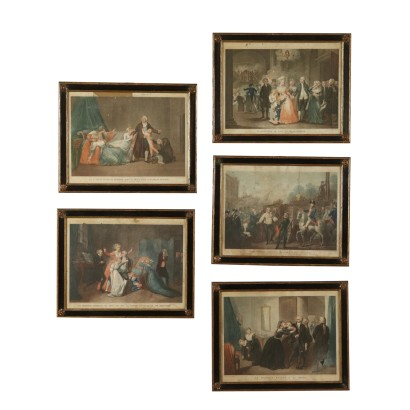 Set of Five Engravings Scenes from Louis XVI's Life Early 1800s