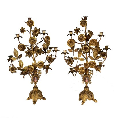 Pair of Candle Holders Gilded Bronze Italy Late 1800s
