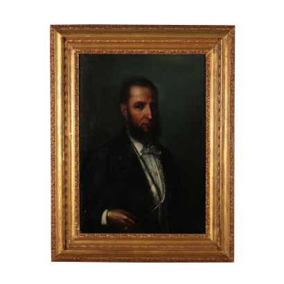 Portrait of a Man Oil Painting Late 1800s