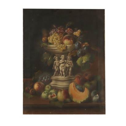 Still Life with Fruit Bowl Oil Painting 19th Century
