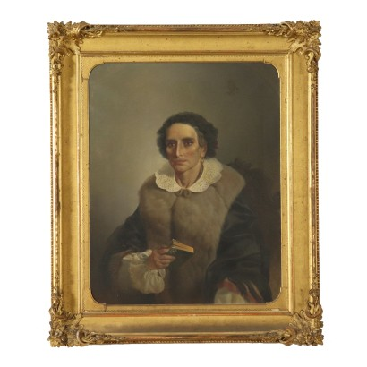 Portrait of a Woman Italian School Painting Late 1800s