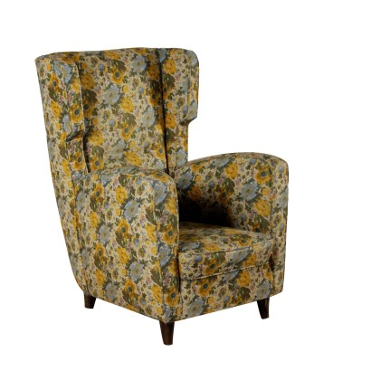 Bergere Armchair Fabric Upholstery Vintage Italy 1950s