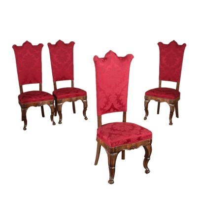 Set of Four Chairs Walnut Manufactured in Italy 19th Century