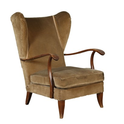 Armchair Stained Beech Velvet Vintage Italy 1940s-1950s