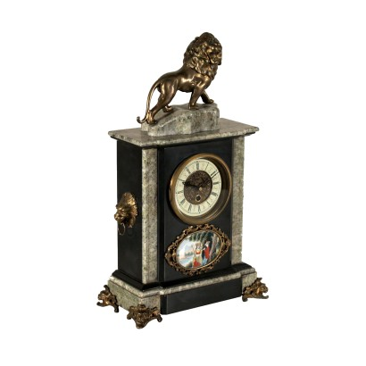 Table Clock Marble Metal Bronze 20th Century