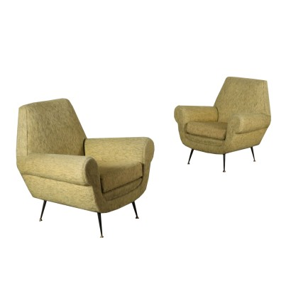 Pair of Armchairs Velvet Upholstery Vintage Italy 1960s