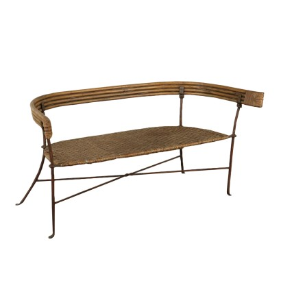 Small Bench Iron Wicker Rattan Vintage Italy 1950s