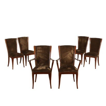Set of Chairs Velvet Upholstery Vintage Italy 1950s