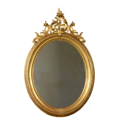 Large Elliptical Gilded Mirror Italy Mid 1900s
