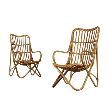 Pair of Wicker Armchairs Vintage Italy 1960s-1970s