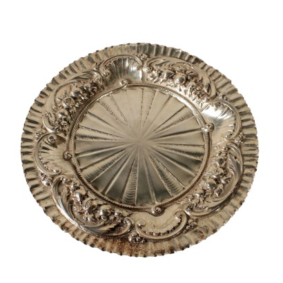Silver Plate with Embossed Ornaments Late 1800s