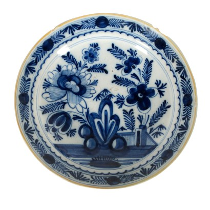 Delft Plate Majolica Blue Ornaments The Netherlands 18th Century