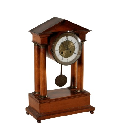 Charles X Portico Clock Bronze Cherry 19th Century