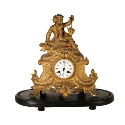 Table Clock on Wooden Base Gilded Antimony France Late 1800s