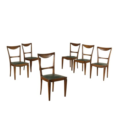 Set of Chairs Leatherette Beech Vintage Italy 1940s