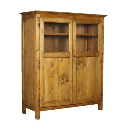 Rustic Cupboard Two Doors Glass Fir Italy 19th Century