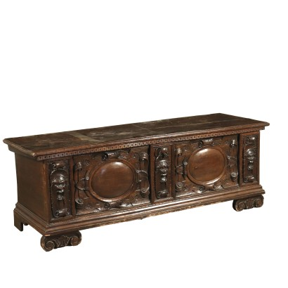 Walnut Carved Storage Bench Italy Mid 1800s