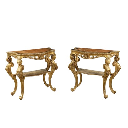 Pair of Gilded Console Tables Florence Italy 18th Century
