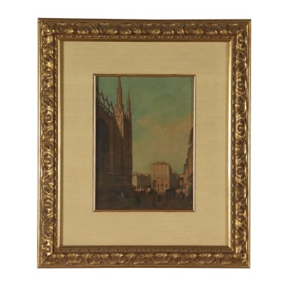 Glimpse of Milan Oil Painting on Board Mid 20th Century