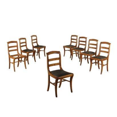 Set of Eight Chairs Cherry Italy 19th Century