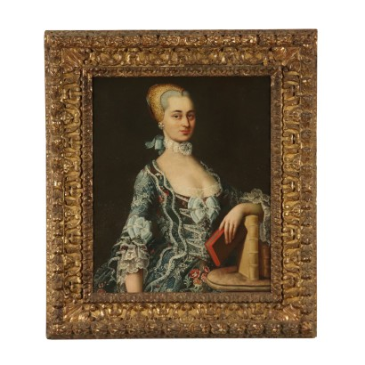 Portrait of Noblewoman Oil Painting 18th Century