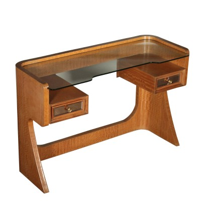 Dressing Table Mahogany Veneer Glass Vintage Italy 1950s-1960s