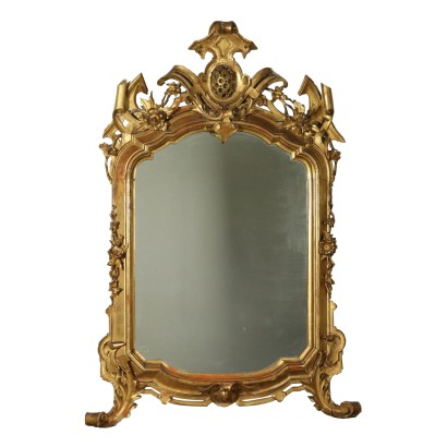 Shaped Carved Gilded Mirror Italy Mid 19th Century