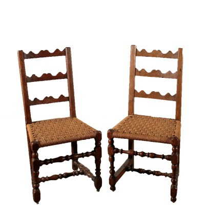 Pair of Bobbin Chairs Walnut Italy First Half of 1700s