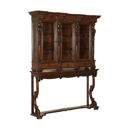 Bookcase on Console Table Walnut Italy 18th-20th Century