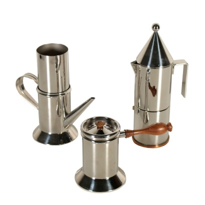 Set of Coffee Makers Officina Alessi Vintage Italy 1980s