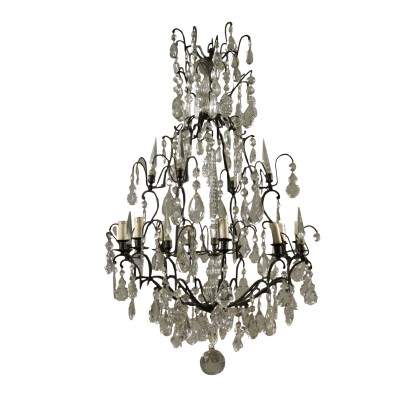 Bronze Chandelier Crystal Pendants Italy 20th Century