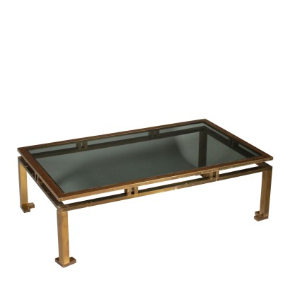 Coffee Table Brass Smoked Glass Vintage 1960s-1970s