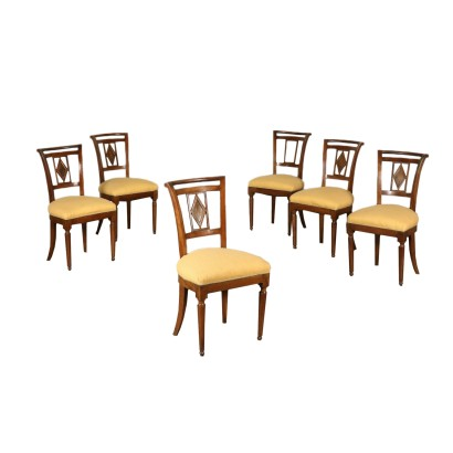 Suite de six Chaises Noyer Italie Premier trimestre '800