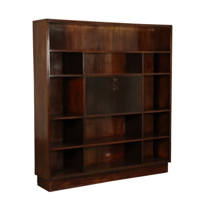 Bookcase Veneered Stained Beech Wood Vintage Italy 1940s