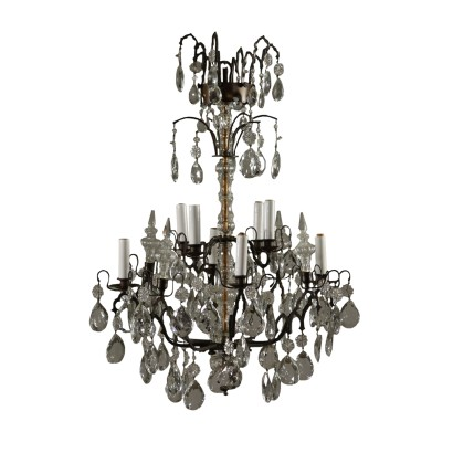 Bronze Crystal Chandelier Italy Early 20th Century