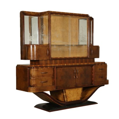 Walnut Cupboard and Display Cabinet Italy 20th Century