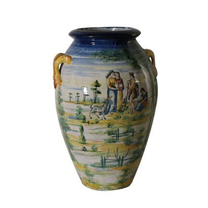 Large Ceramic Vase with Ornaments Italy Early 1900s