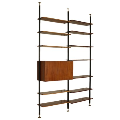 Floor-to-ceiling Bookcase Mahogany Veneer Vintage Italy 1950s-1960s