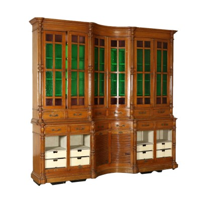 Liberty Serpentine Bookcase Italy Early 20th Century