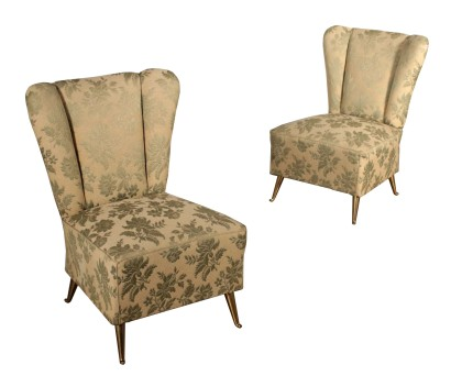 Pair of Small Springs Padding Armchairs Vintage Italy 1950s
