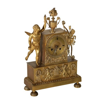 Charles X Table Clock Gilded Bronze France 19th Century
