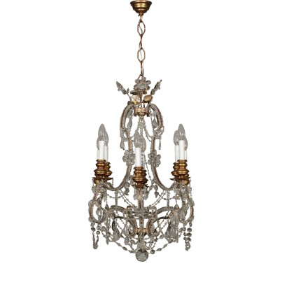 Chandelier Gilded Wood Glass Italy 20th Century
