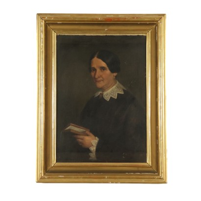 Female Portrait Oil Painting on Canvas 19th Century