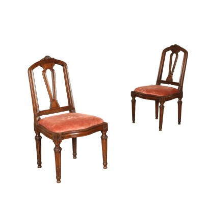 Pair of Neoclassical Walnut Chairs Italy 18th Century