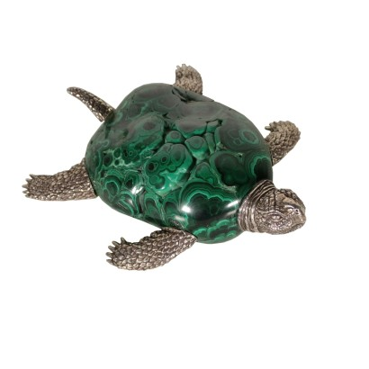 Tartaruga in argento e malachite