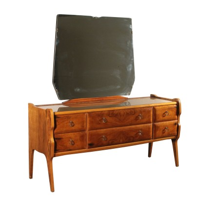 Chest of Drawers with Mirror Burl Veneer Vintage Italy 1960s