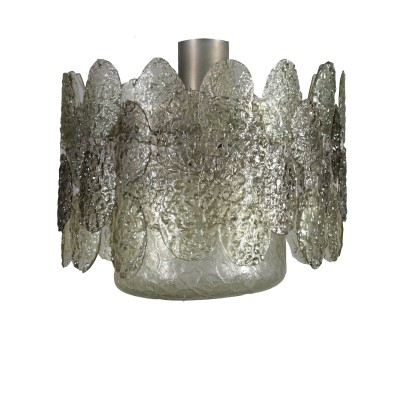 Ceiling Light Metal Crystal Vintage Italy 1960s