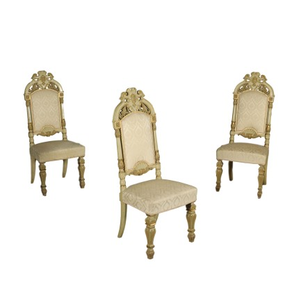 Set of Three Revival Chairs Lacquered Wood Italy 20th Century
